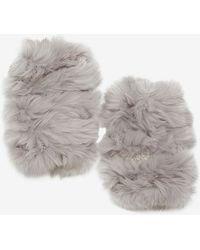Jocelyn Rabbit Fur Fingerless Mittens - Lyst