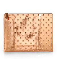 Ela - Large Rose Gold Metallic Allover Stud Pouch - Lyst