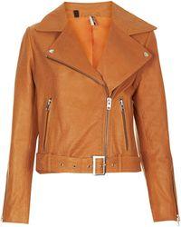 Topshop Belted Leather Biker Jacket  Orange - Lyst