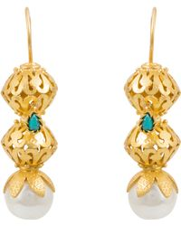 Kastur Jewels - Heritage Pearl & Turquoise Earrings - Lyst
