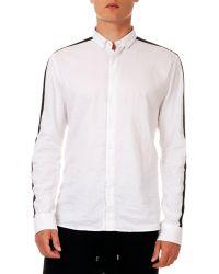 Balmain Racing-Stripe Long-Sleeve Shirt - Lyst