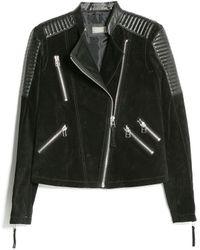 Mango Mixed Leather Biker Jacket - Lyst