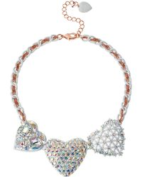 Betsey Johnson White Hearts Two-Tone Frontal Necklace - Lyst