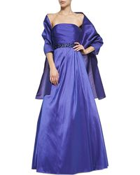 Ml Monique Lhuillier Strapless Beaded-waist Gown - Lyst