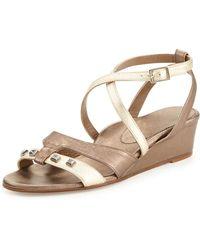 Anyi Lu - Lily Metallic Wedge Sandal Platinumpewter - Lyst