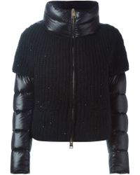 Herno   Knitted Panel Padded Jacket   Lyst