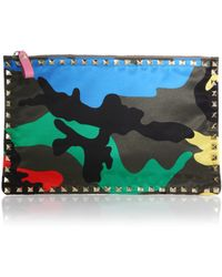Valentino Rockstud Large Psychedelic Camouflage Nylon Zip Pouch - Lyst