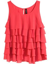 H&M Red Tiered Top - Lyst