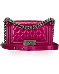 Madison Avenue Couture - Chanel Fuchsia Pink Metallic Patent Small Boy Bag - Lyst