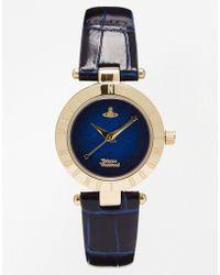 Vivienne Westwood Time Machine Blue Croc Watch Vv092nvnv - Lyst