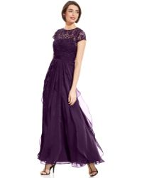 Adrianna Papell Petite Capsleeve Lace Tiered Gown - Lyst