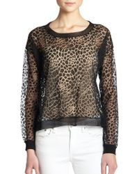 Milly Sheer Animal-Print Pullover animal - Lyst