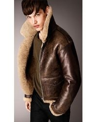 Burberry Shearling Aviator Jacket - Lyst