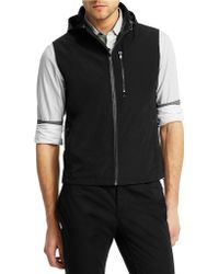 Kenneth Cole - Twill Hooded Zip Vest - Lyst