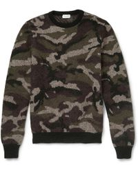 Saint Laurent Camouflage Mohair-Blend Crew Neck Sweater - Lyst