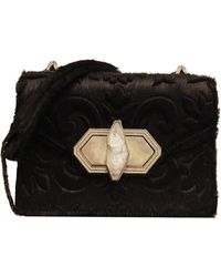 Marchesa Daphne Mini Calf Hair Crossbody Bag Black - Lyst