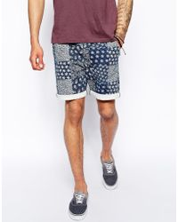 Asos Chino Short in Slim with Indigo Print in Mid Length - Lyst