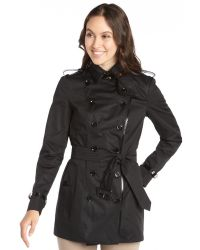 Burberry Black Leathertrimmed Doublebreasted Trench Coat - Lyst