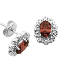 Lord & Taylor - January Birthstone Garnet Cubic Zirconia And Sterling Silver Stud Earrings - Lyst