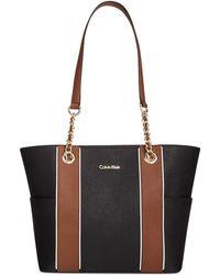 Calvin Klein Saffiano Leather Tote black - Lyst