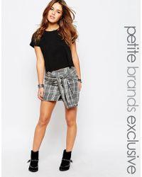 Noisy May Petite - Grid Check Tie Waist Mini Skirt - Lyst