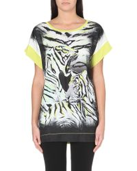 Just Cavalli Satin and Stretch-jersey Top - Lyst