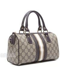 Gucci Preowned Monogram Stripped Small Boston Joy Bag - Lyst