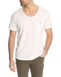 Diesel Zotikos Flared Collar White Tshirt white - Lyst