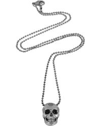 Philipp Plein - Silver Tone Metal Skull Necklace W/Black Crystals - Lyst