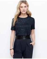 Ann Taylor Petite Embellished Tee - Lyst