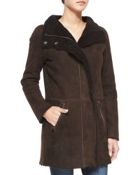 Goes - Shearling Coat With Curly Fur Detail - Lyst