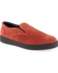 Bottega Veneta Intrecciato Suede Slip-on Trainers - Lyst