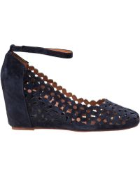 Jeffrey Campbell Delaisy Wedge Pump Navy Suede - Lyst