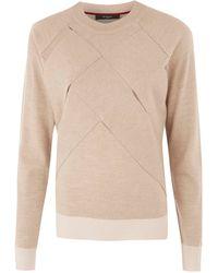 Paul Smith Black Label - Beige Large Basket Weave Merino Wool Jumper - Lyst