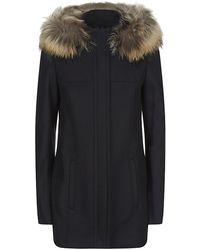 Boss Black Woman Fur Hood Wool Parka - Lyst