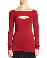 Donna Karan New York Red Cutout Tee - Lyst