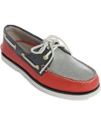 Sperry Top-Sider Gold Cup Tricolour Leather Boat Shoes red - Lyst
