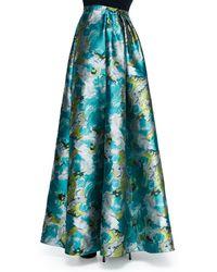 Carmen Marc Valvo - Floral Printed Charmeuse Ball Skirt - Lyst
