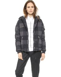 Band Of Outsiders Nylon Check Puffer Jacket - Black - Lyst