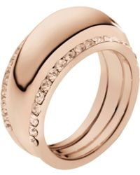 Michael Kors Pavéembellished Rose Goldtone Insert Ring - Lyst