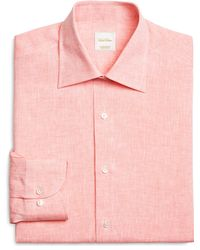 Brooks Brothers Solid Orange Linen Luxury Dress Shirt - Lyst