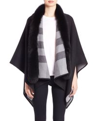 Burberry | Fox-fur-trimmed Merino Wool Poncho | Lyst