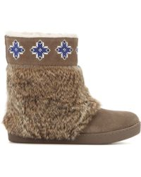 Tory Burch Lafayette Emroidered Suede Boots with Fur - Lyst