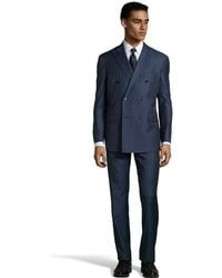 Ike Behar Navy Blue Wool Pinstriped Double Breasted Jacket With Flat Front Pants - Lyst