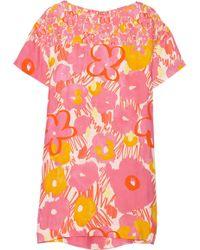 Matthew Williamson Floral-Print Silk Mini Dress - Lyst