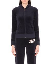 Juicy Couture Logo Island Blooms Velour Hoody - For Women blue - Lyst