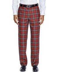 Brooks Brothers Milano Fit Tartan Dress Trousers - Lyst