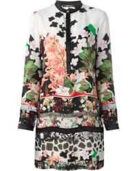 Roberto Cavalli Floral Print Tunic Dress - Lyst