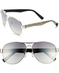 Furla Women'S 60Mm Aviator Sunglasses - Silver/ White Black/ Mirror - Lyst
