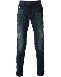 Diesel Blue Distressed Jeans - Lyst